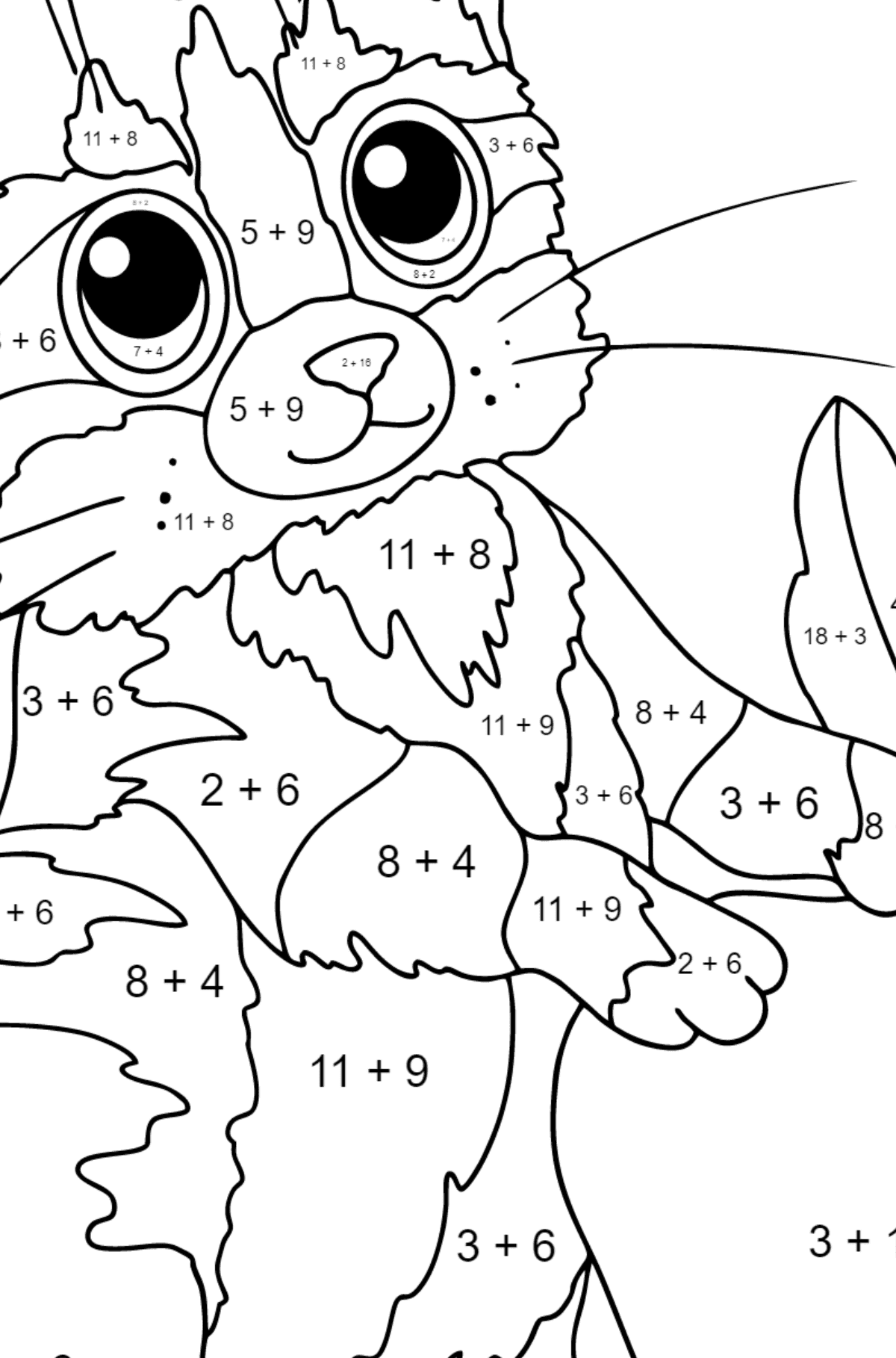 Coloring Page - A Cat and a Ripe Apple - Math Coloring - Addition for Kids