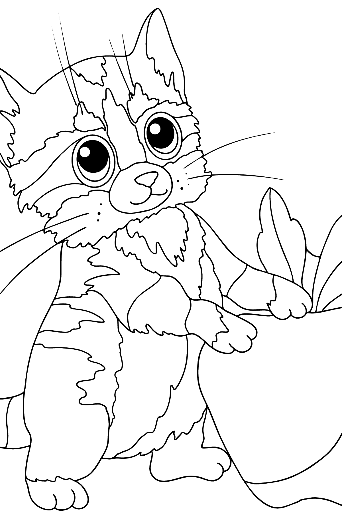 Coloring Page - A Cat and a Ripe Apple - Coloring Pages for Kids