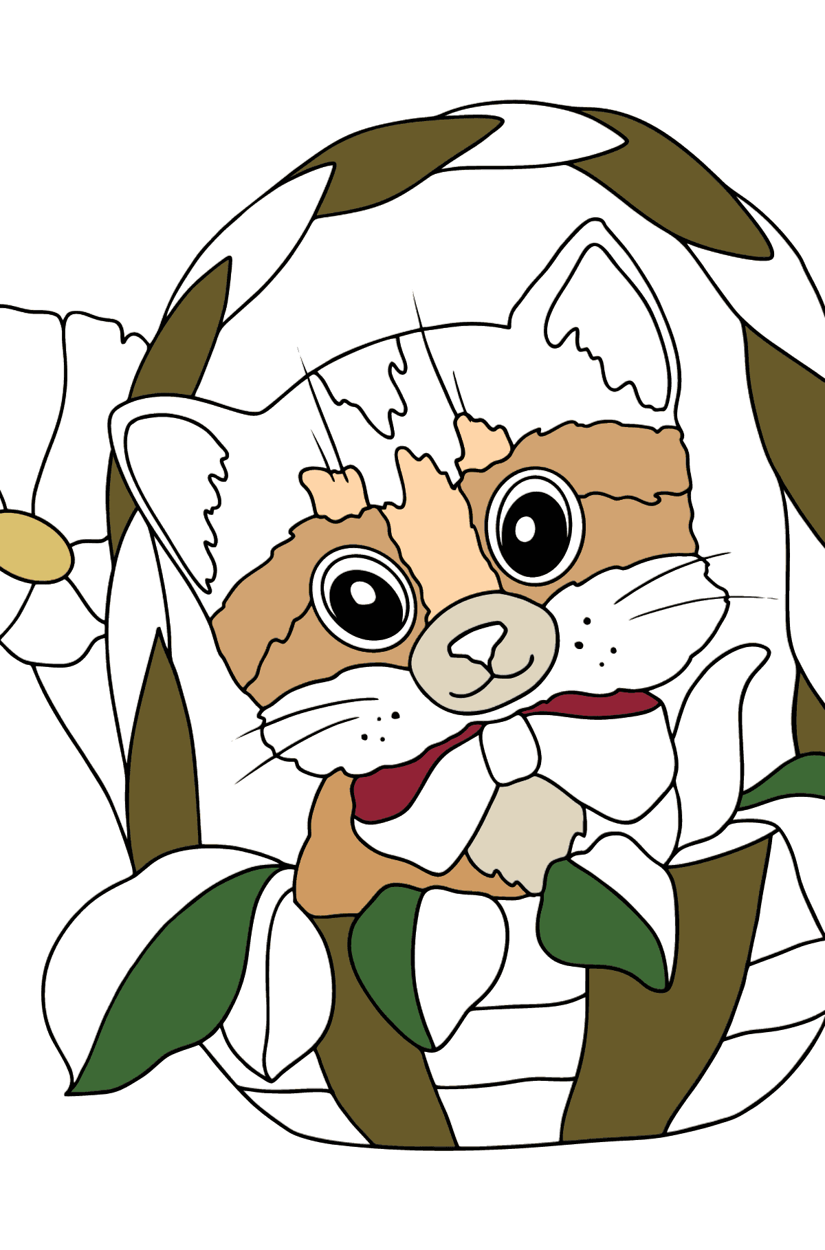 Coloring Page - A Cat is Hiding in a Basket - Coloring Pages for Kids