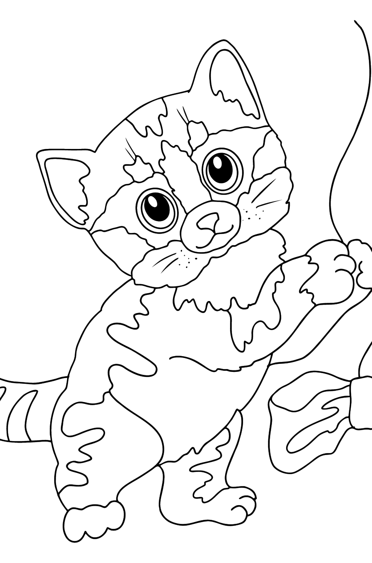 Coloring Page - A Cat is Playing with a Blue Bow - Coloring Pages for Kids