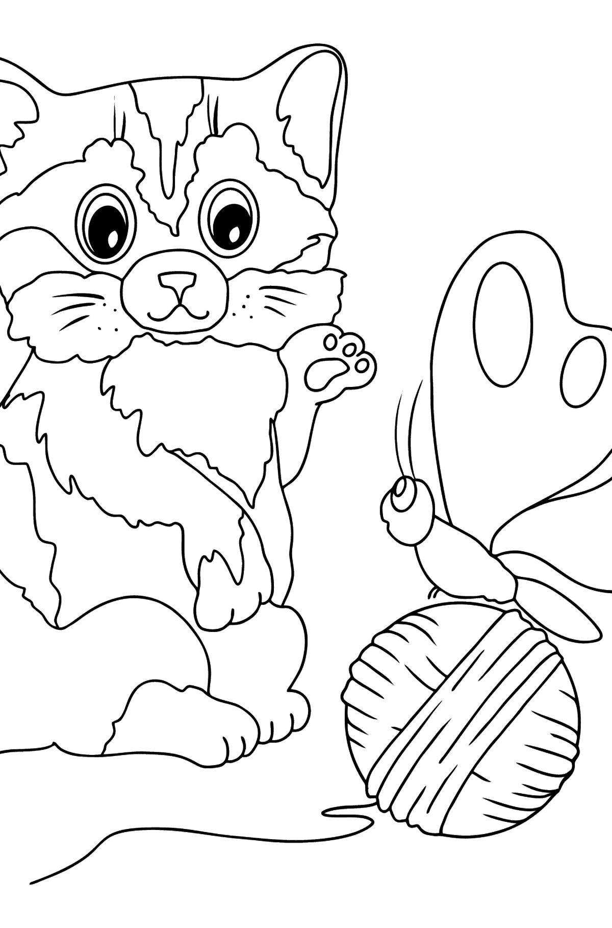 Coloring Page - A Cat is Playing with a Butterfly - Coloring Pages for Kids