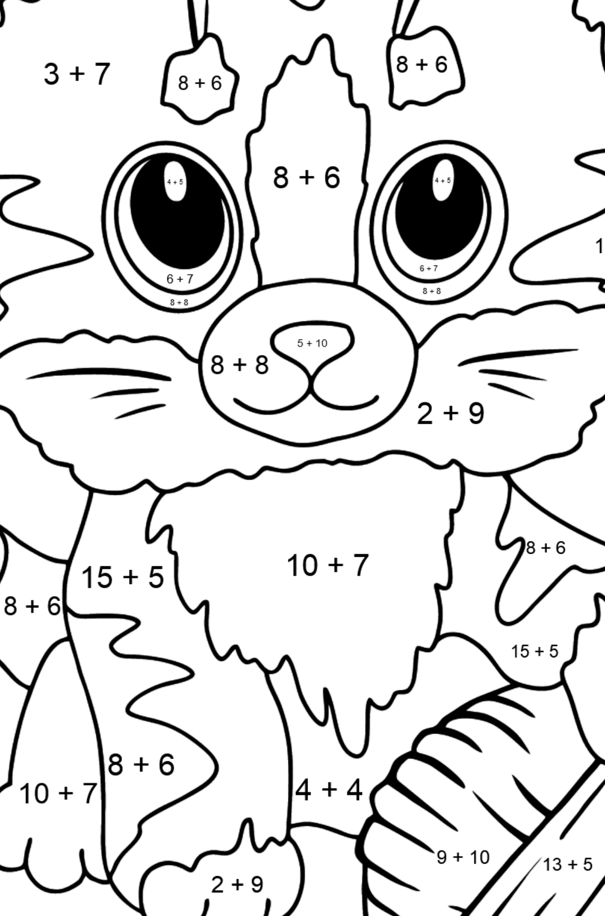 Cute Cat Coloring Page - Math Coloring - Addition for Kids
