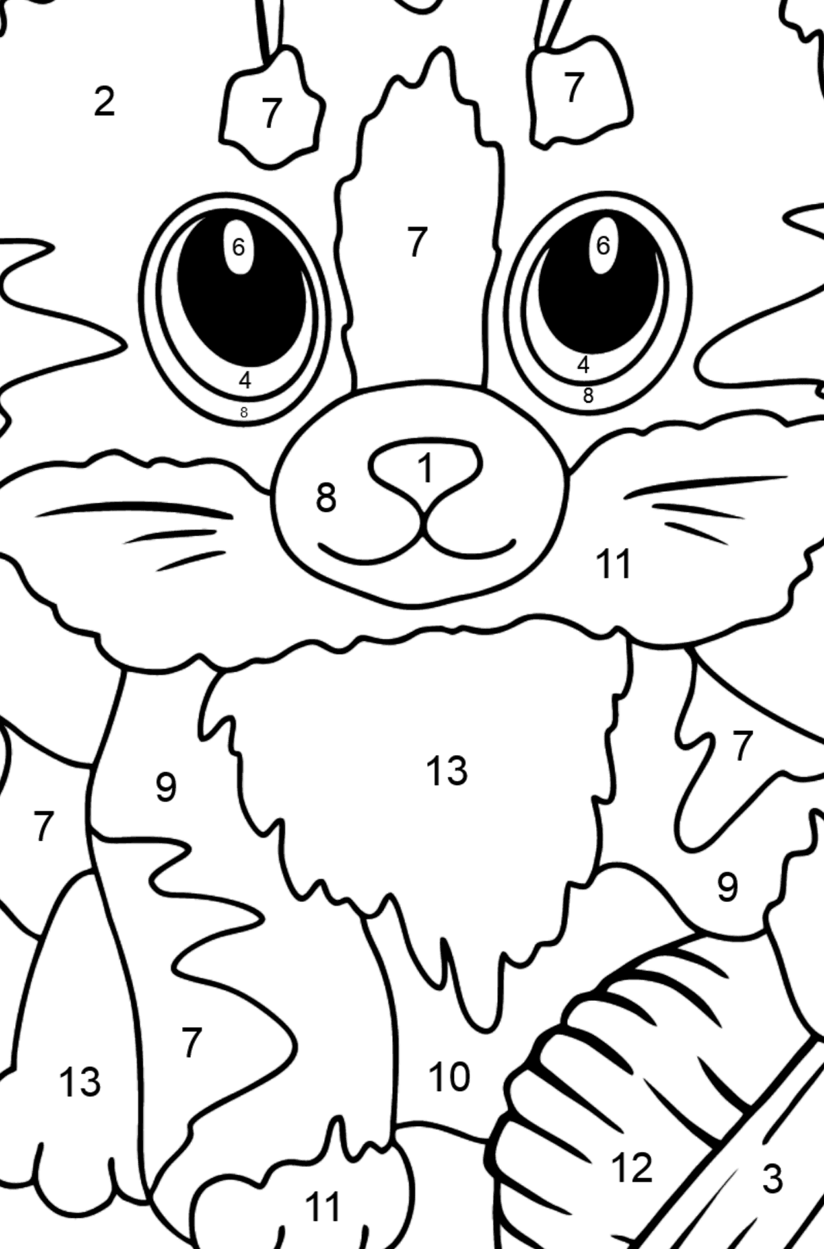 Cute Cat Coloring Page - Coloring by Numbers for Kids