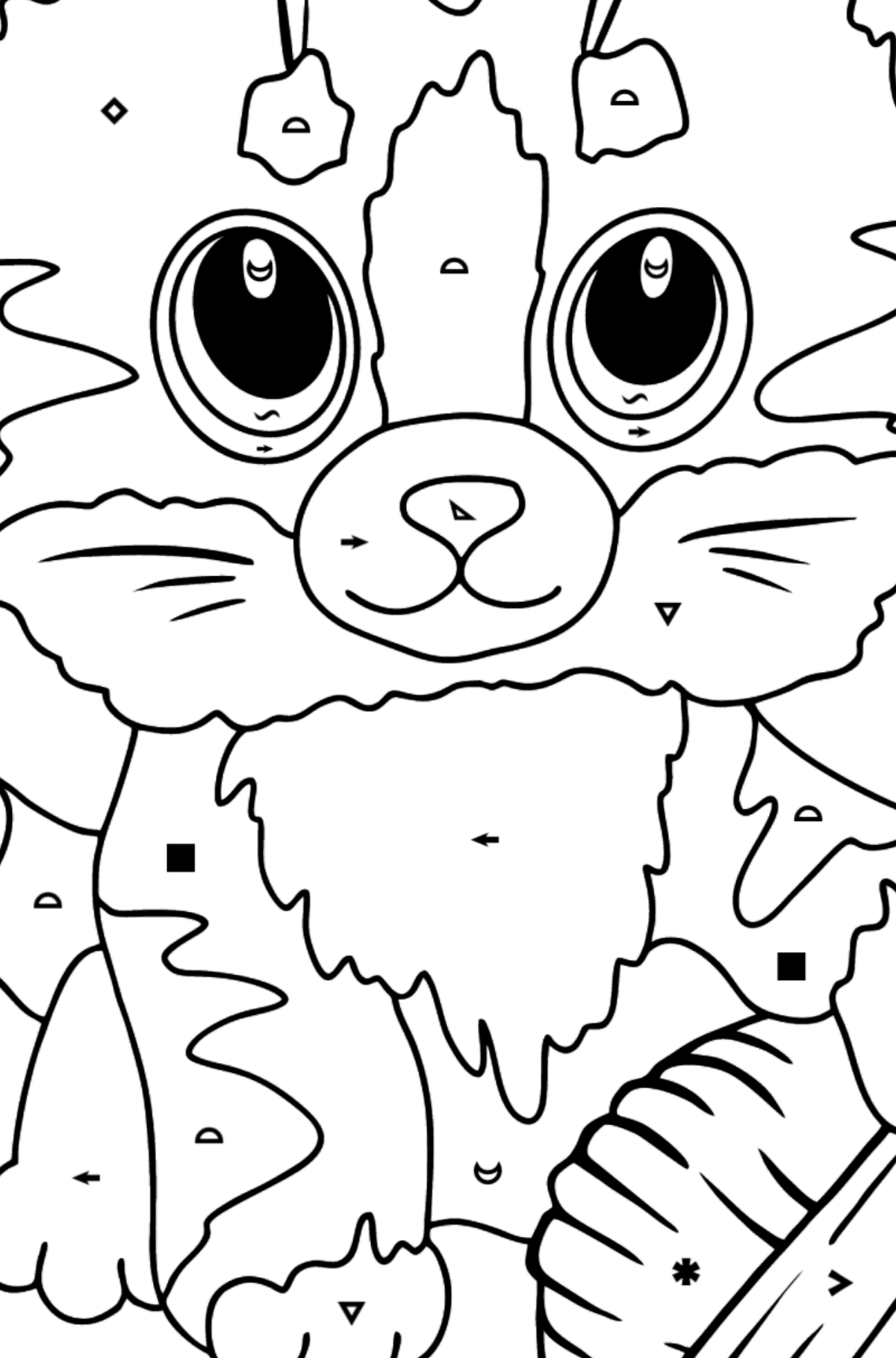 Cute Cat Coloring Page - Coloring by Symbols and Geometric Shapes for Kids