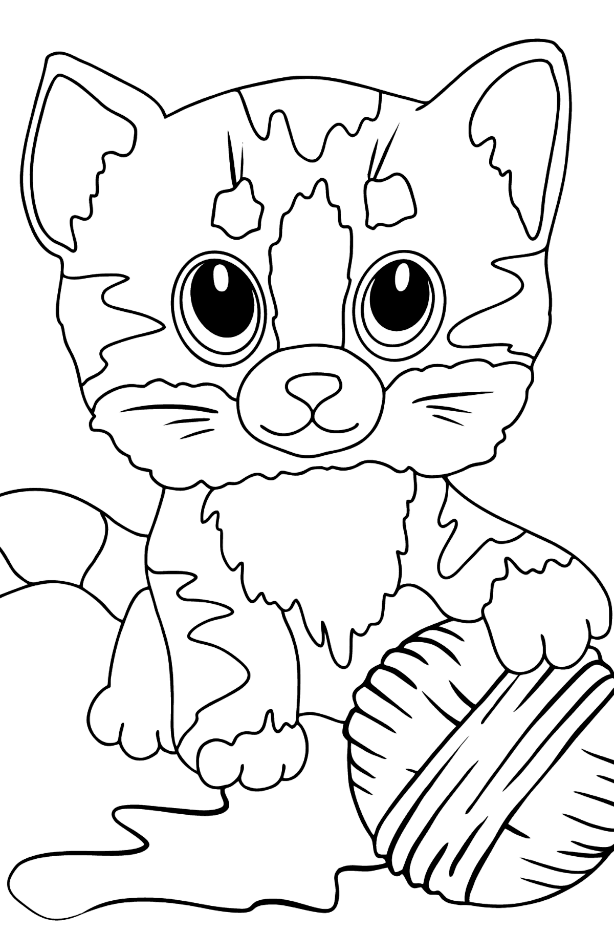 Cute Cat Coloring Page - Coloring Pages for Kids