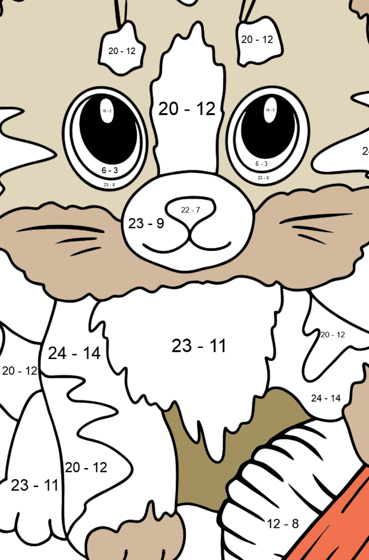 Cute Cat Coloring Page - Math Coloring - Subtraction for Kids