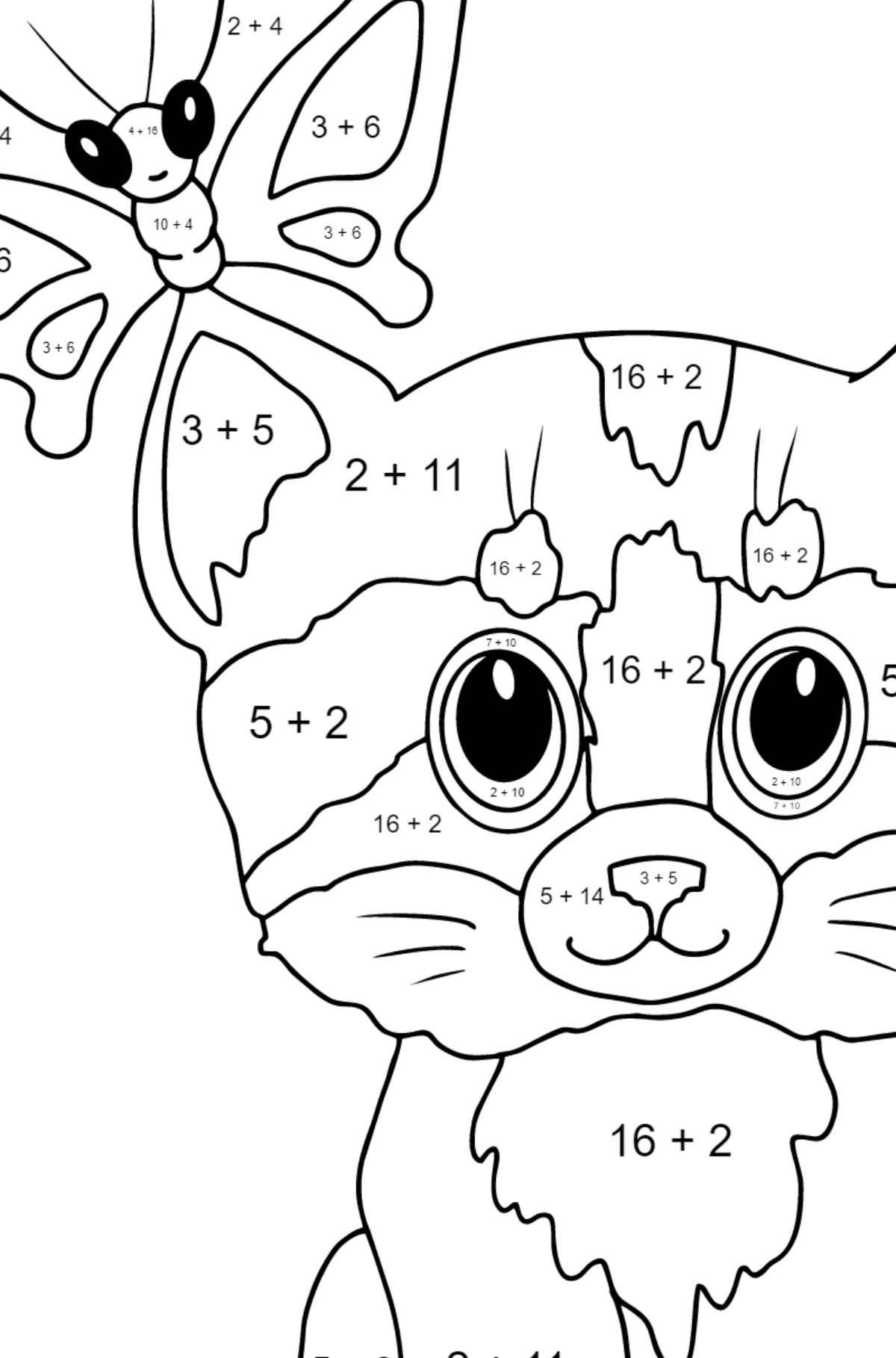 Coloring Page - A Cat with a Butterfly on Its Ear - Math Coloring - Addition for Kids