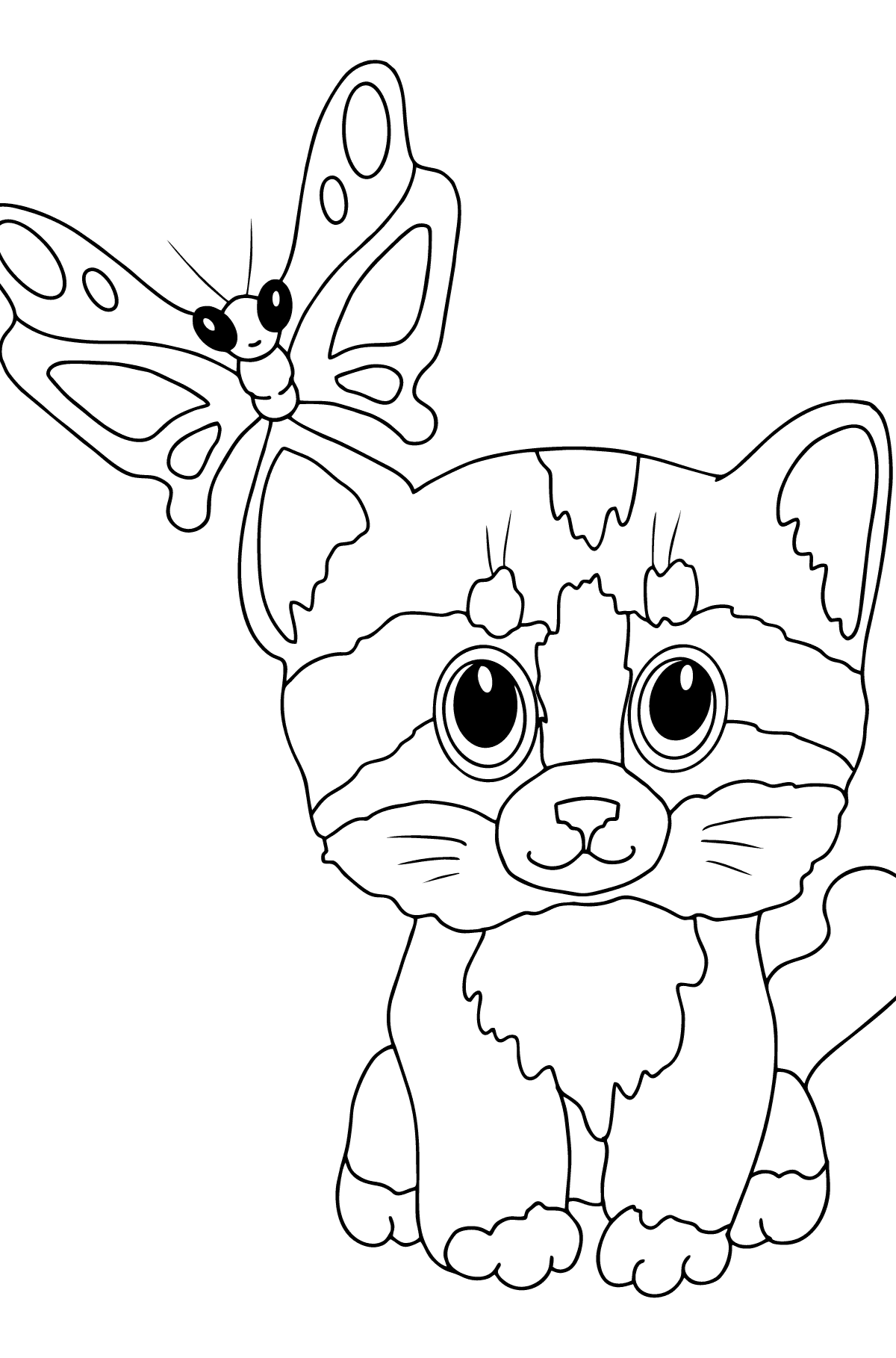 Coloring Page - A Cat with a Butterfly on Its Ear - Coloring Pages for Children