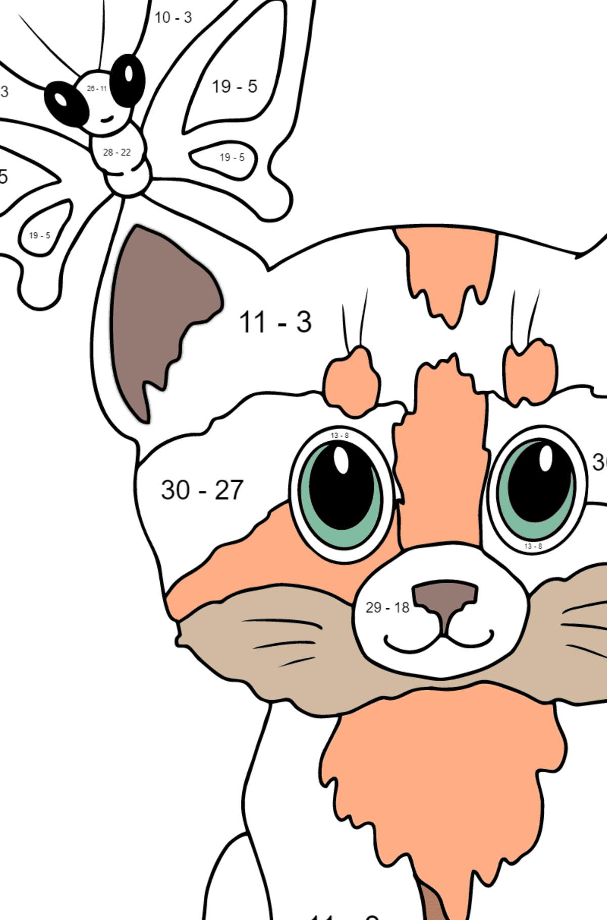 Coloring Page - A Cat with a Butterfly on Its Ear - Math Coloring - Subtraction for Kids