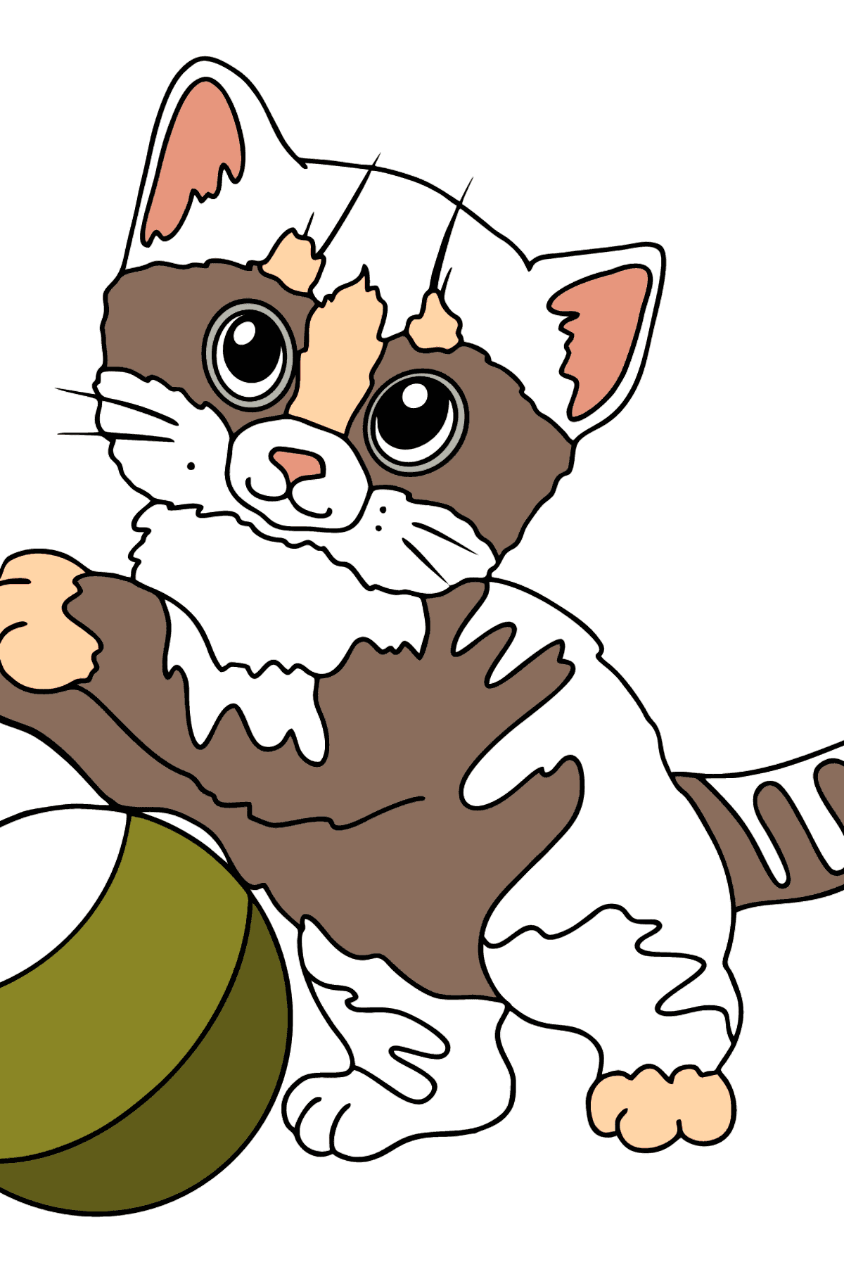 Coloring Page - A Cat with a Green Ball - Coloring Pages for Kids