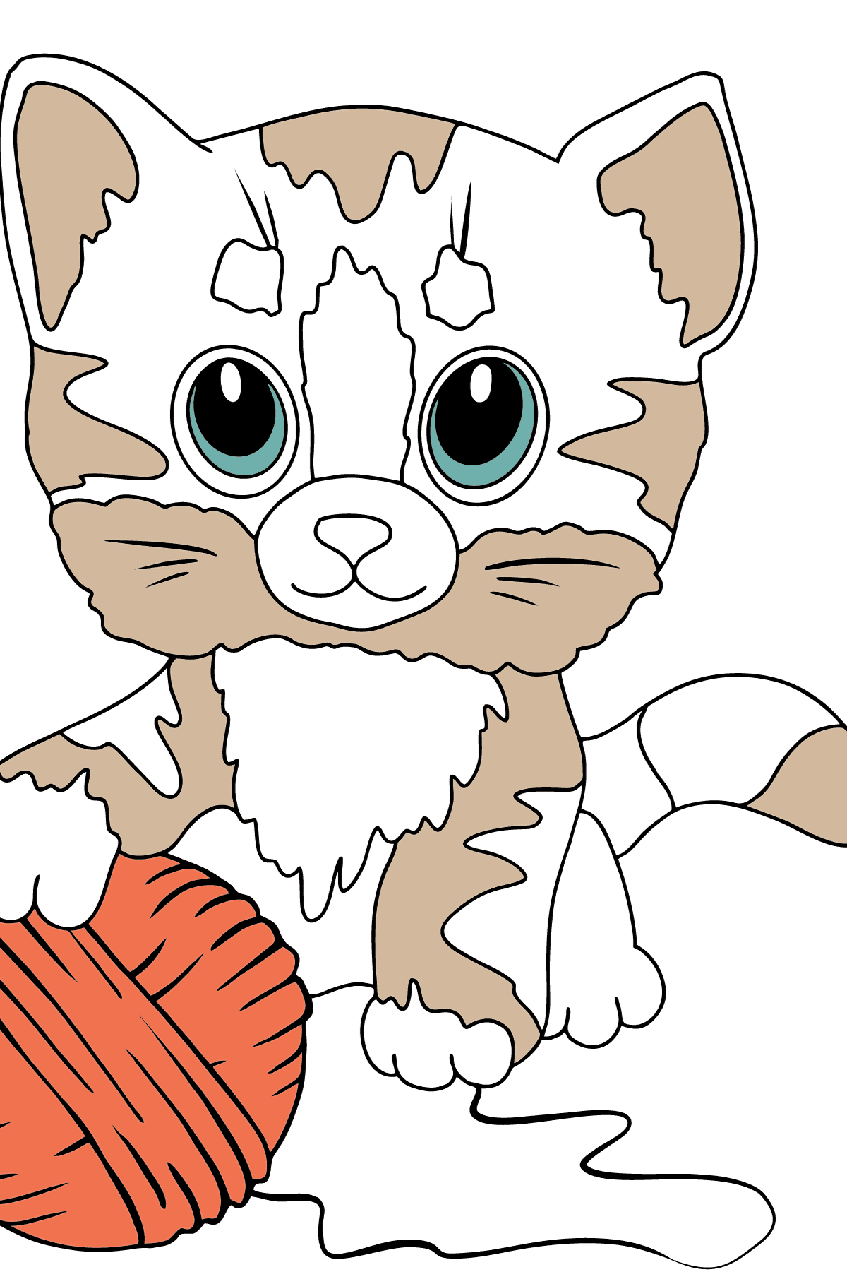 Coloring Page - a Kitten has Caught a Ball of Yarn - Coloring Pages for Children