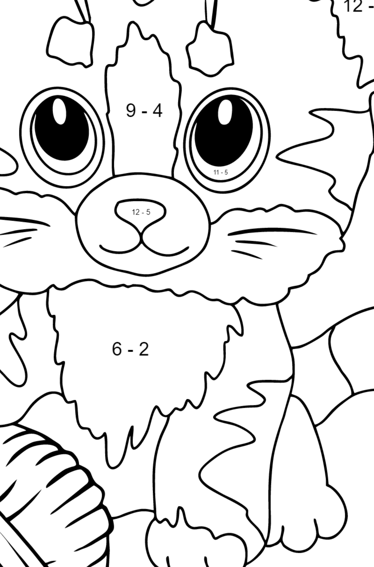 Coloring Page - a Kitten has Caught a Ball of Yarn - Math Coloring - Subtraction for Kids