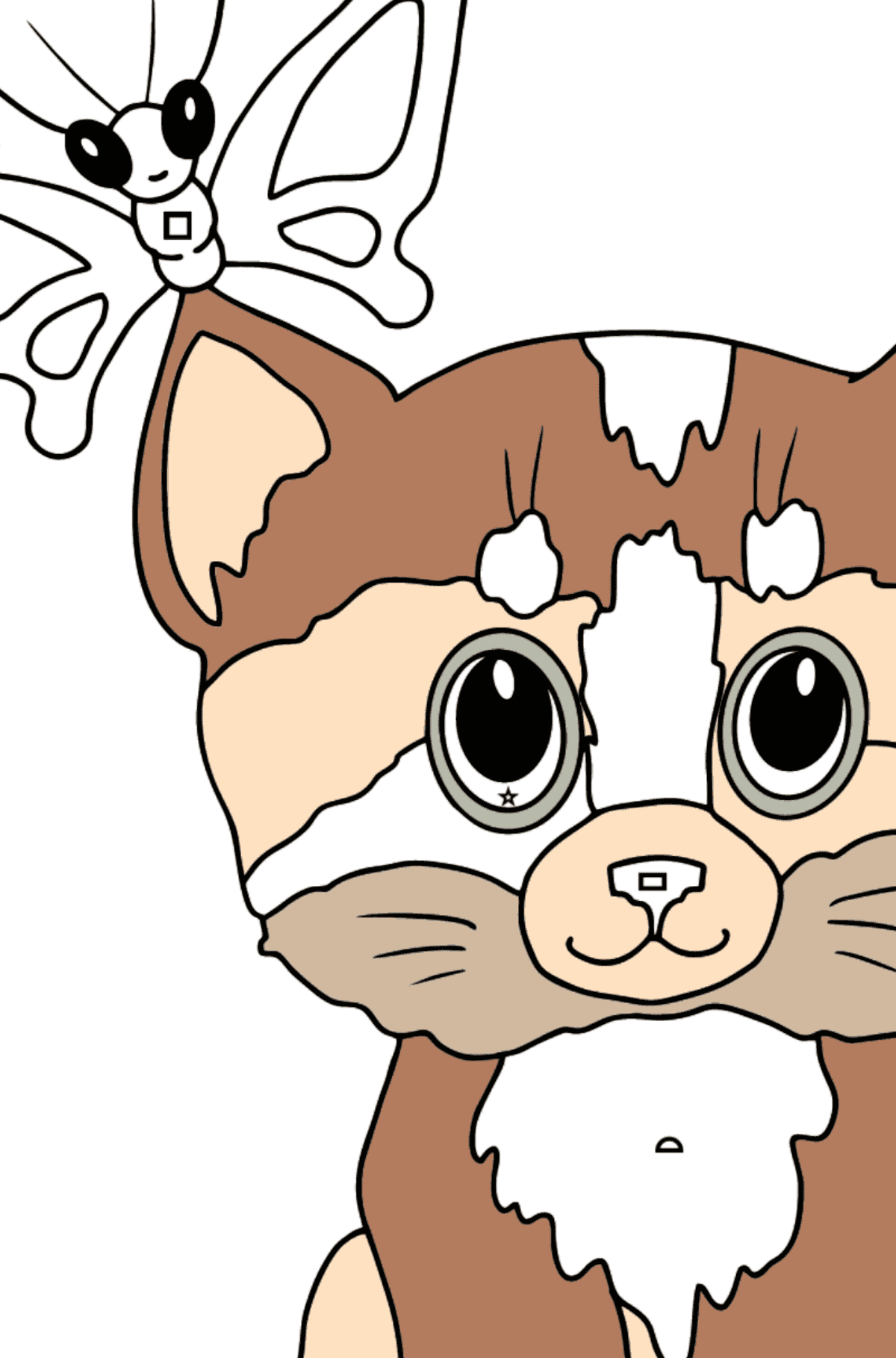 Coloring Page - A Kitten has Caught a Butterfly - Coloring by Geometric Shapes for Kids