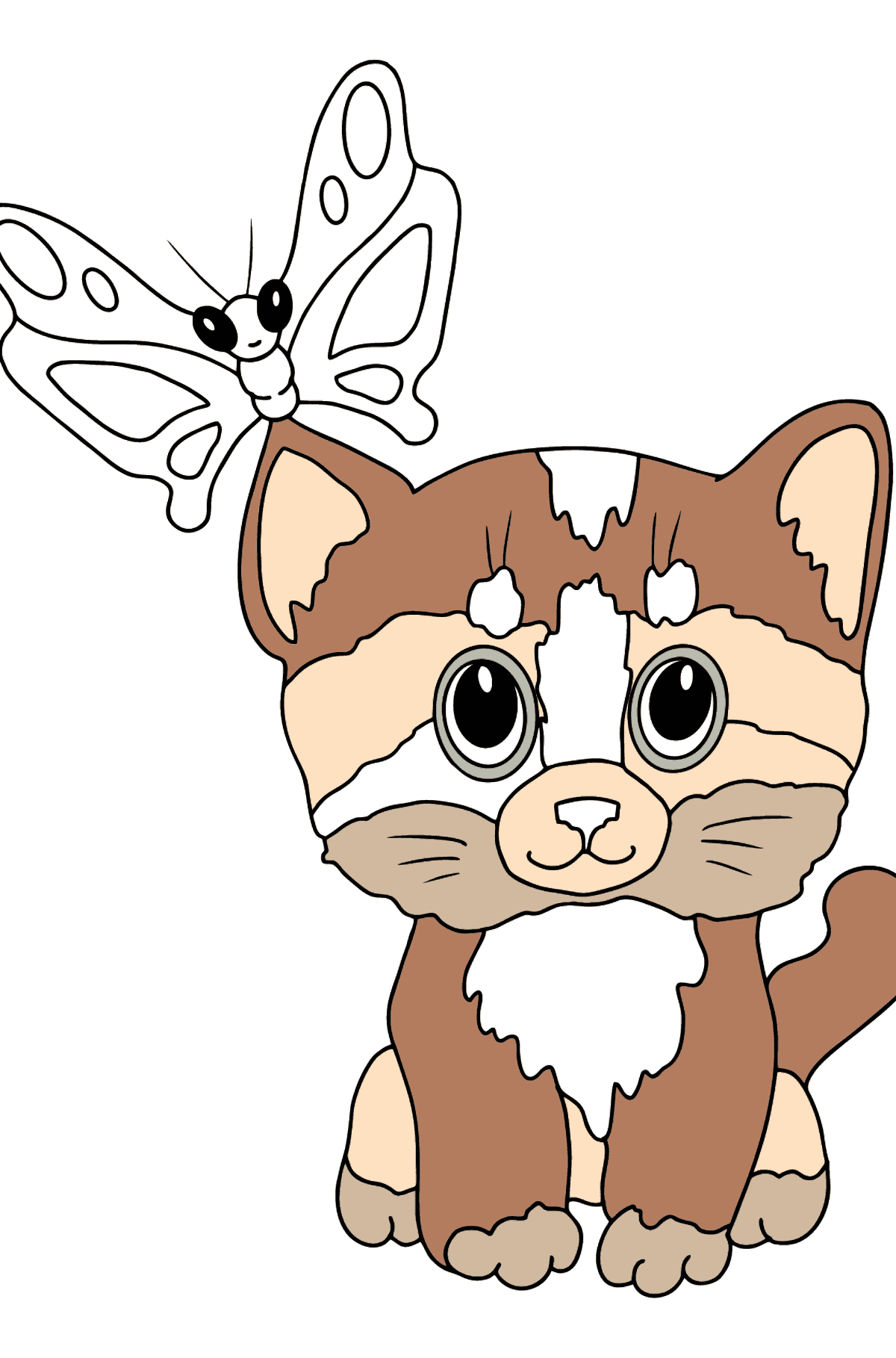 Coloring Page - A Kitten has Caught a Butterfly - Coloring Pages for Kids