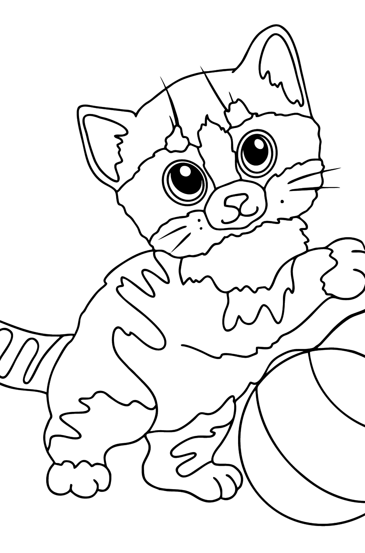 Coloring Page - A Kitten has Caught Its Favorite Ball - Coloring Pages for Kids