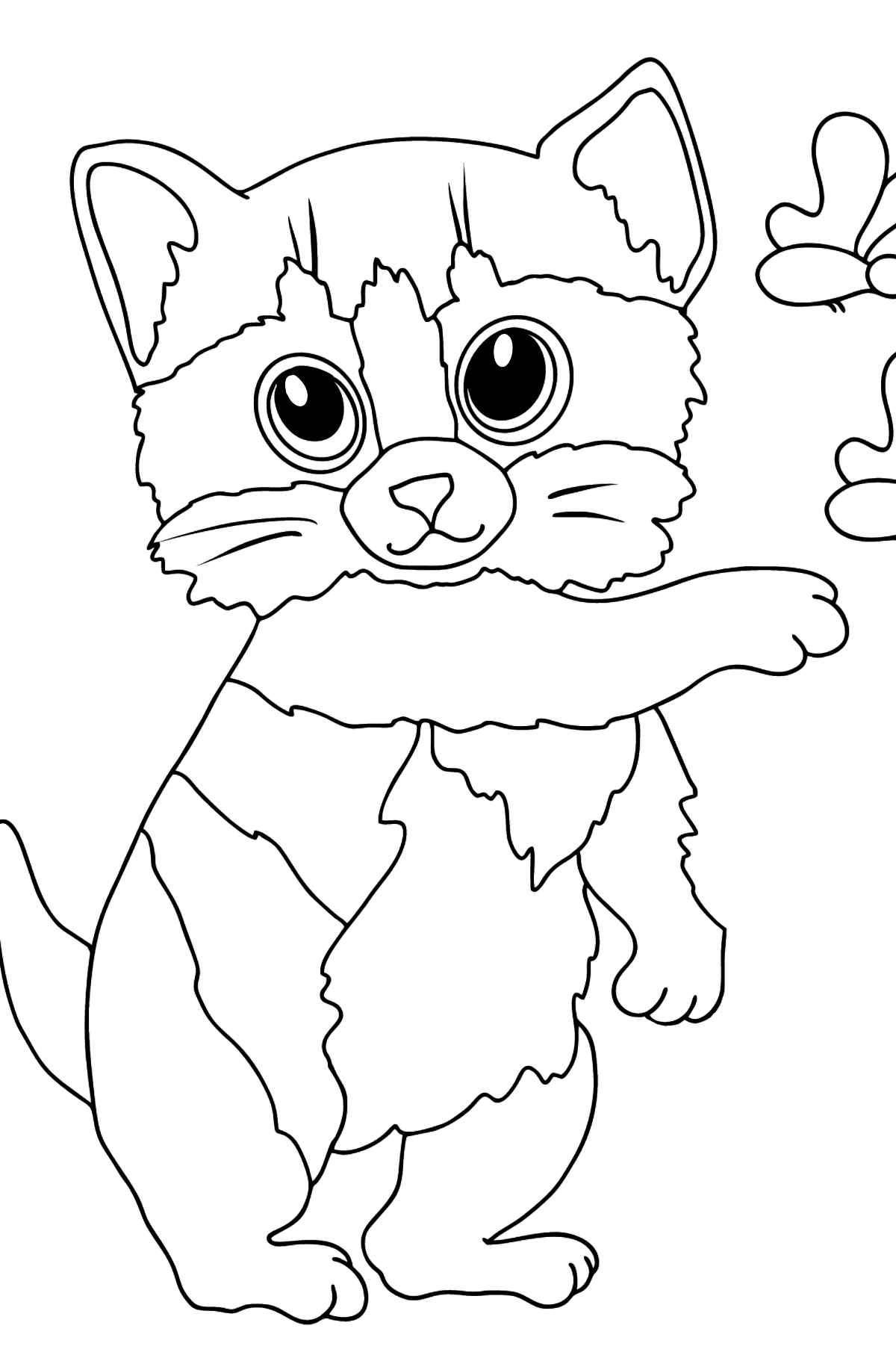 Coloring Page - A Kitten has Tamed Butterflies - Coloring Pages for Kids