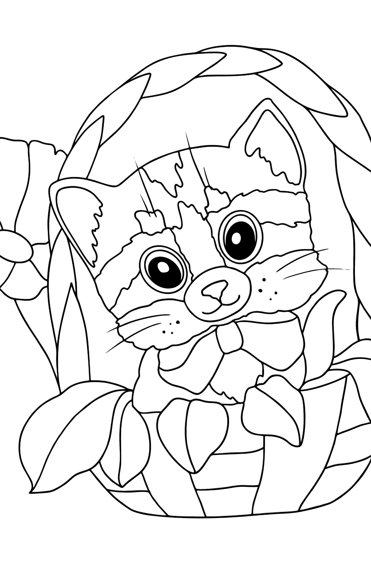 Coloring Page - A Kitten is Feeling Comfortable in a Basket - Coloring Pages for Kids