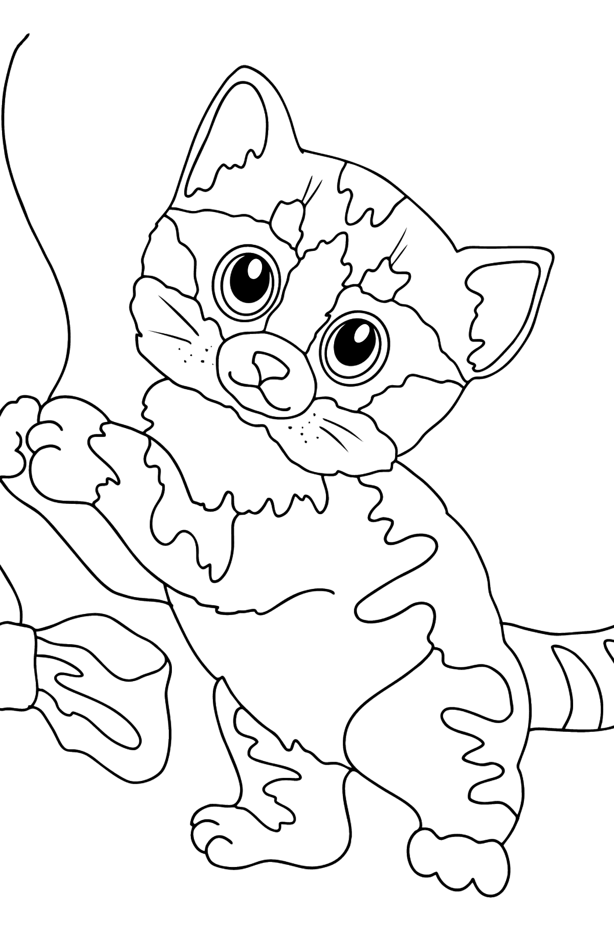 Coloring Page - A Kitten is Having Fun with a Bow - Coloring Pages for Kids