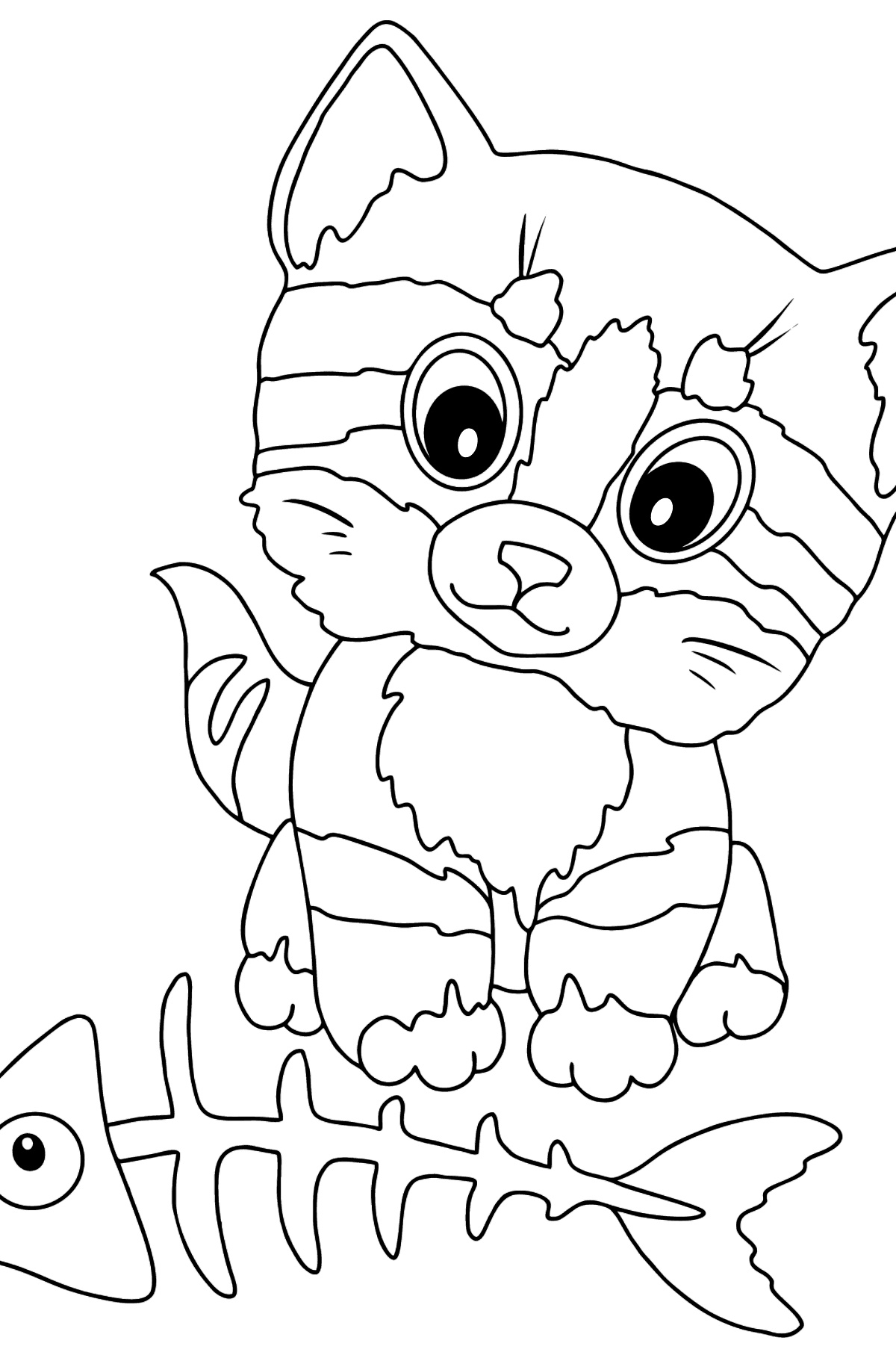 Coloring Page - A Kitten is Staring at a Bone with Interest - Coloring Pages for Kids