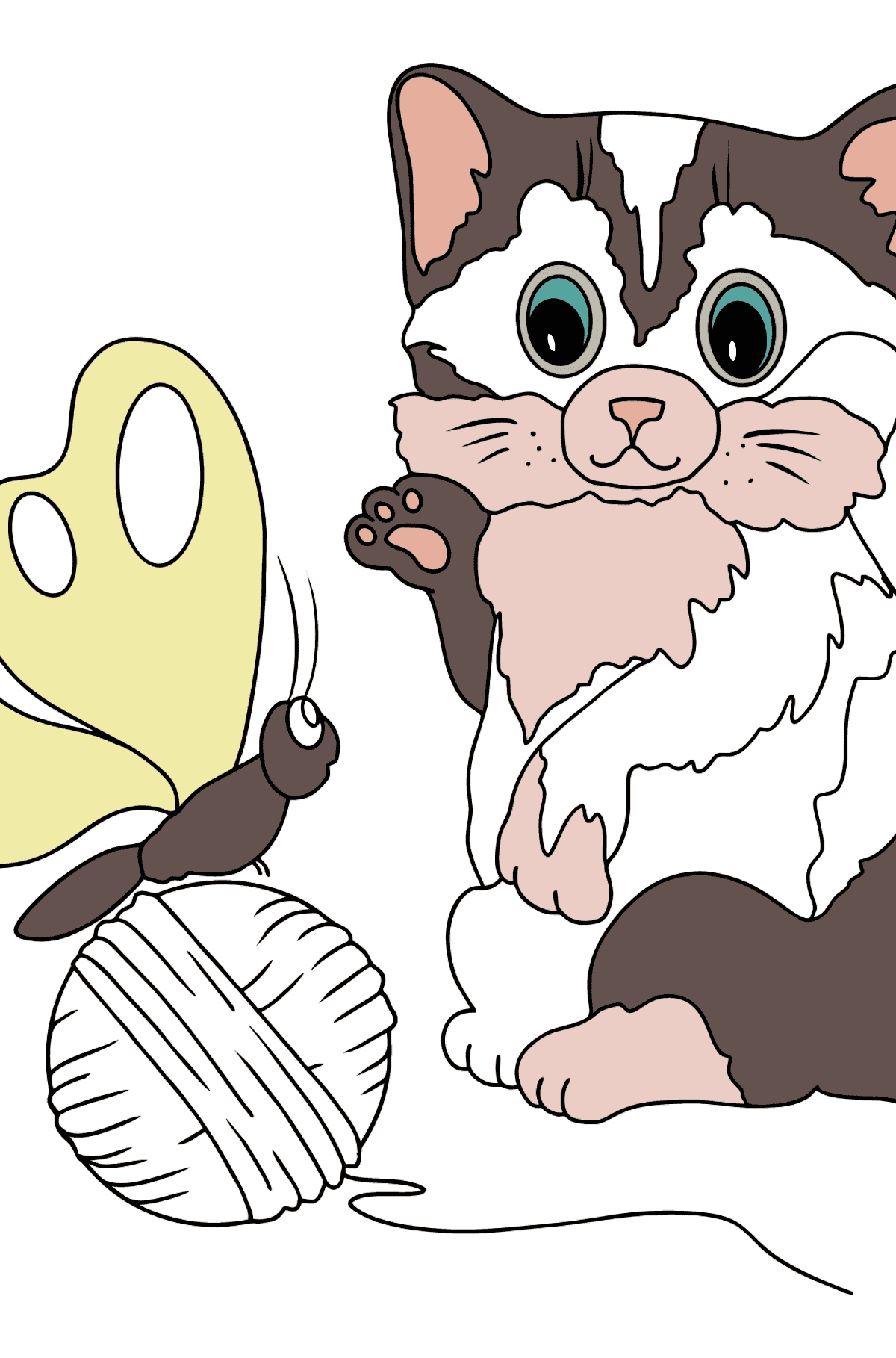 Coloring Page - A Kitten is Trying to Catch a Butterfly - Coloring Pages for Kids