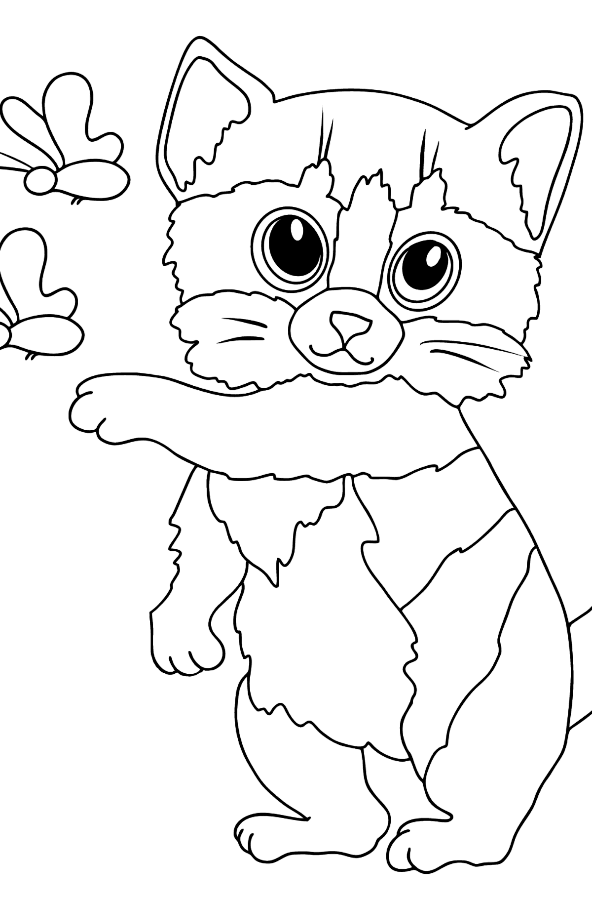 Coloring Page - An Orange Kitten with Butterflies - Coloring Pages for Kids