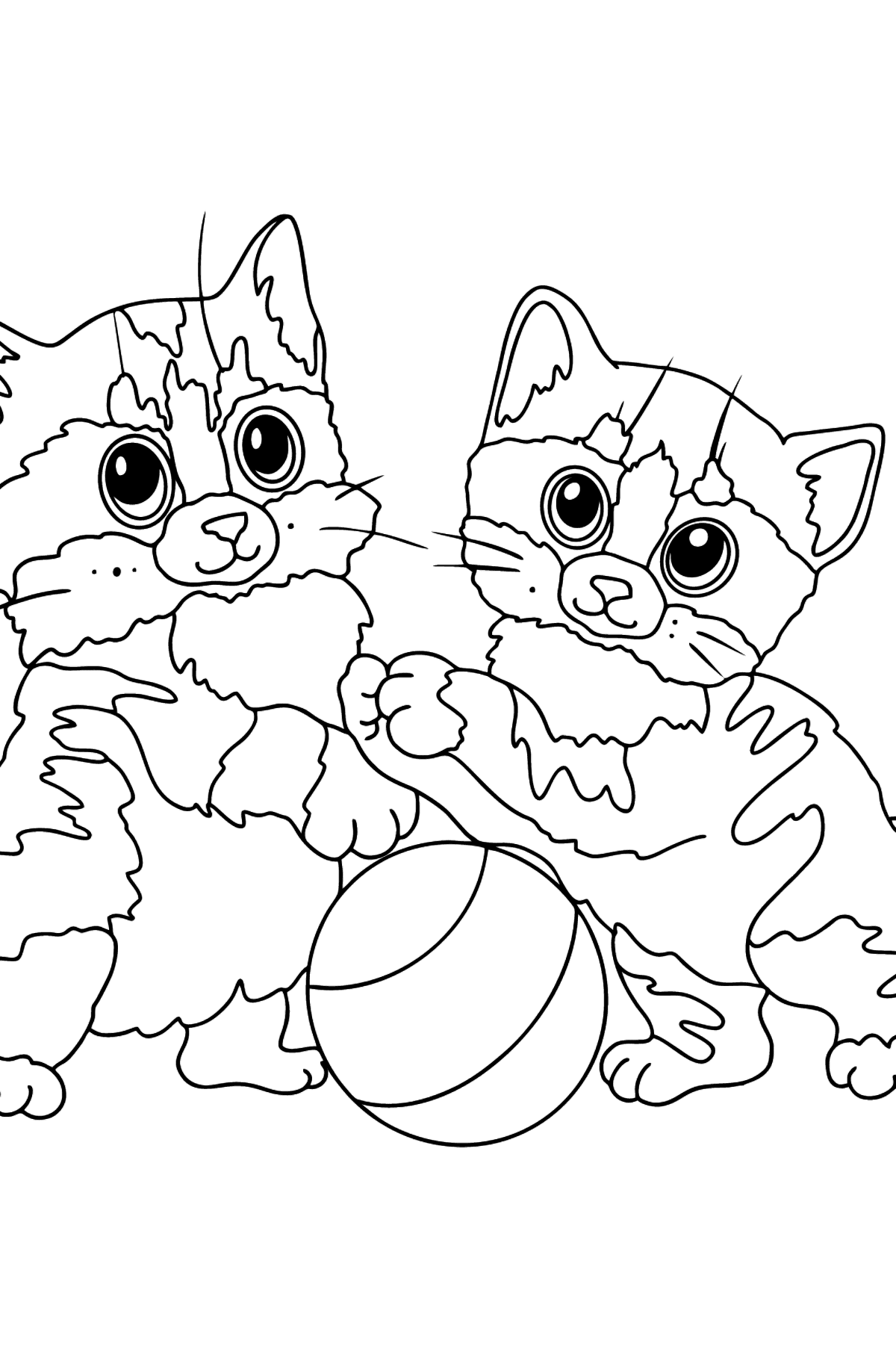 Coloring Page - Kittens are Having Fun with a Ball - Coloring Pages for Kids