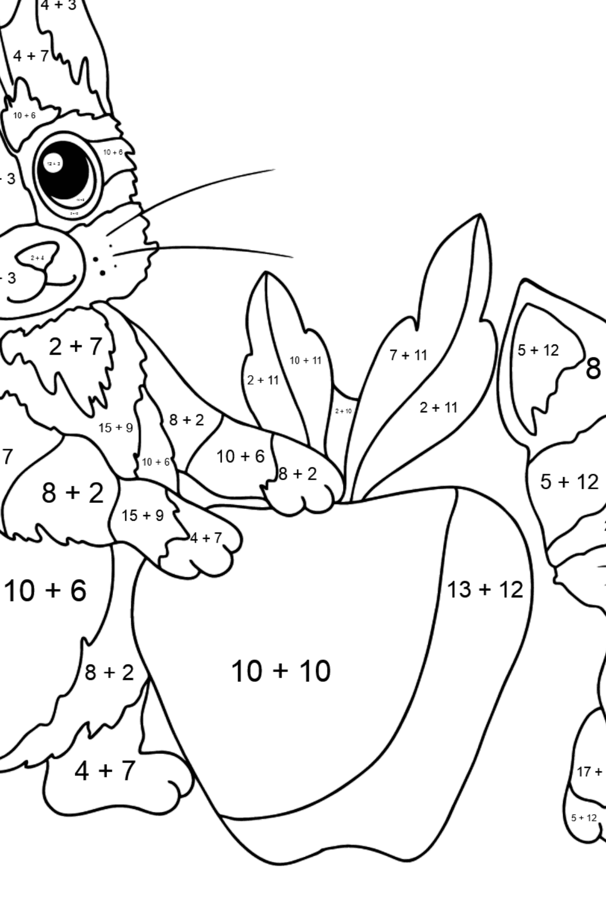 Coloring Page - Kittens are Having Fun with a Red Apple - Math Coloring - Addition for Kids