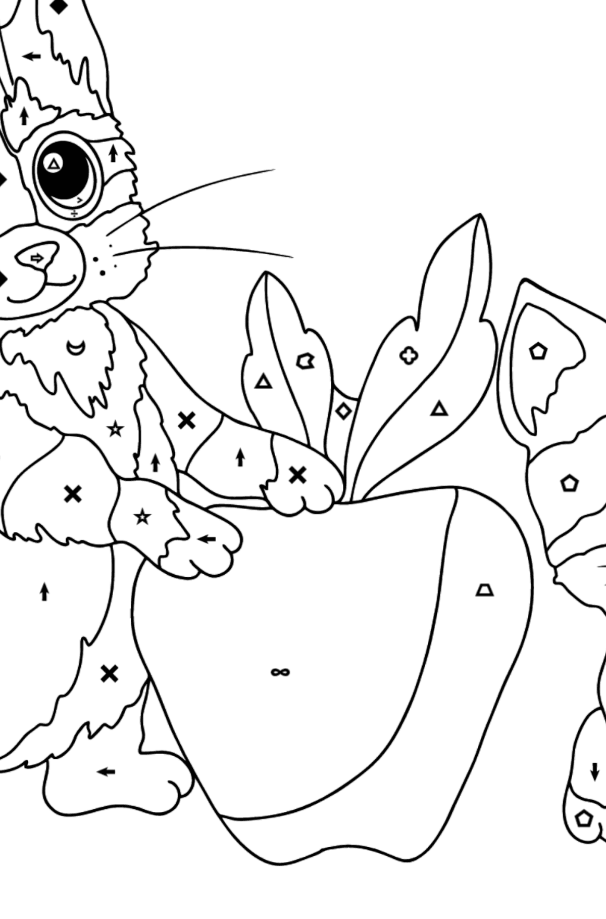 Coloring Page - Kittens are Having Fun with a Red Apple - Coloring by Symbols and Geometric Shapes for Kids