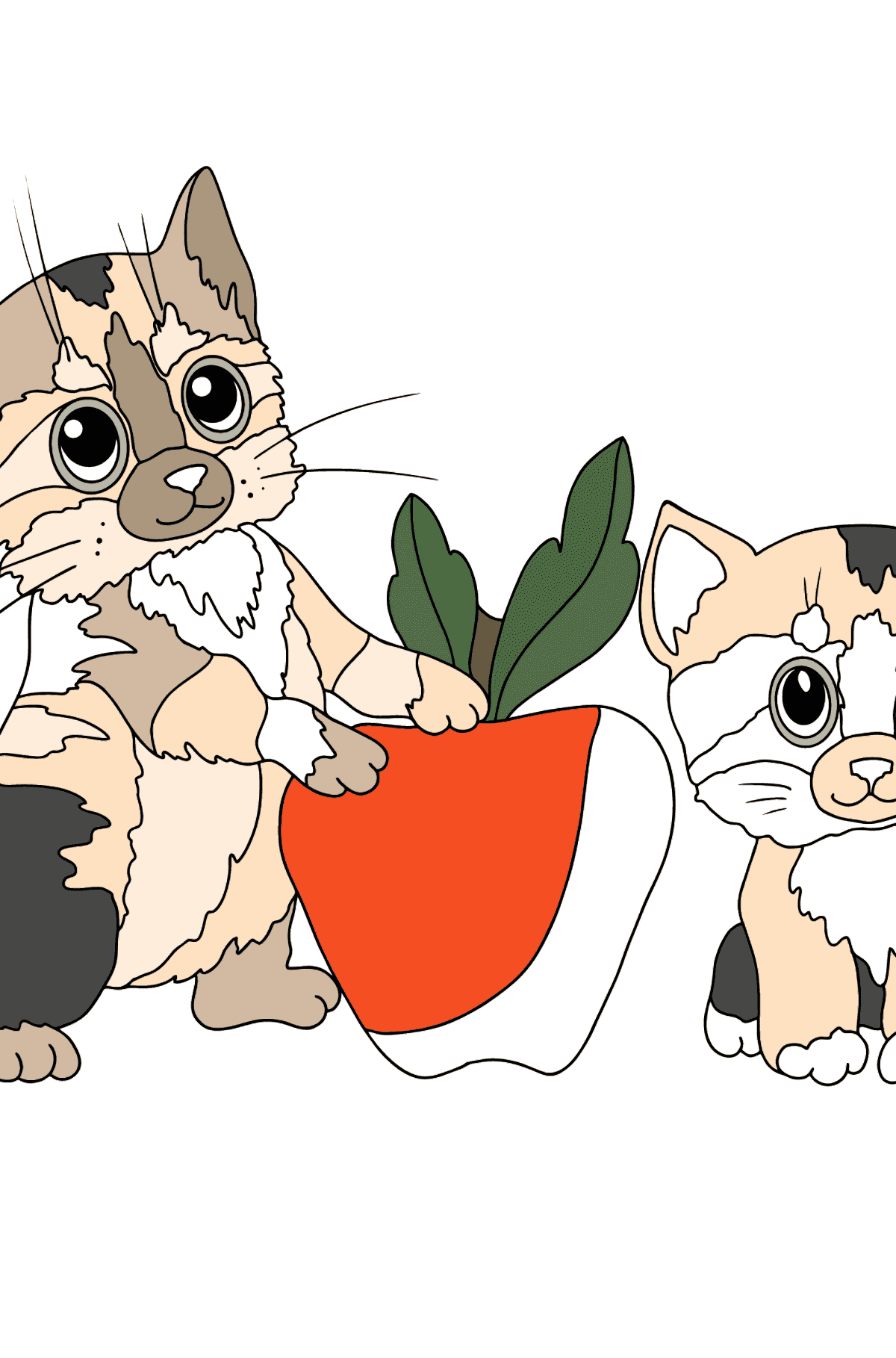 Coloring Page - Kittens are Having Fun with a Red Apple - Coloring Pages for Kids