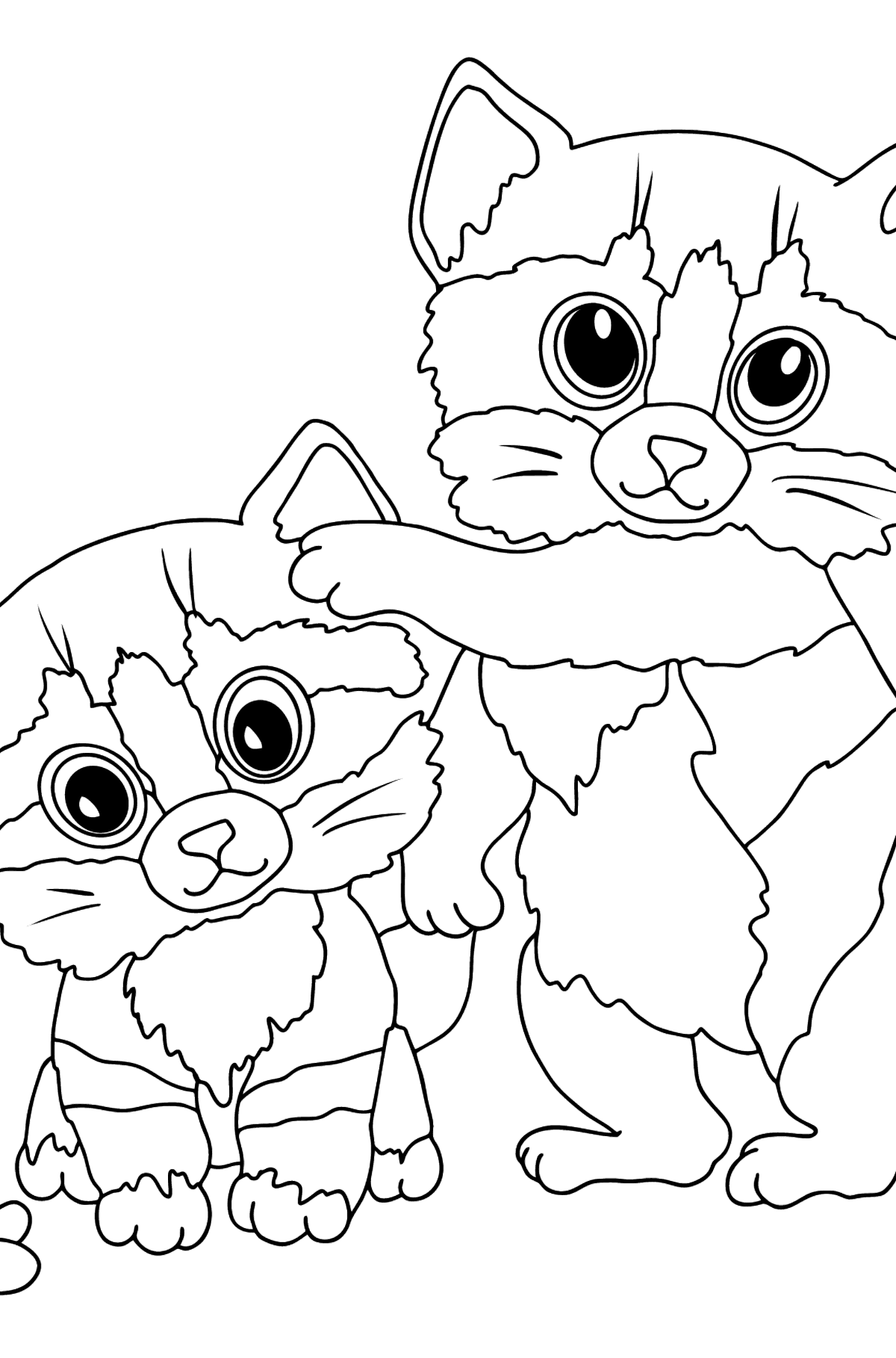 Coloring Page - Kittens are Jumping with a Butterfly - Coloring Pages for Kids