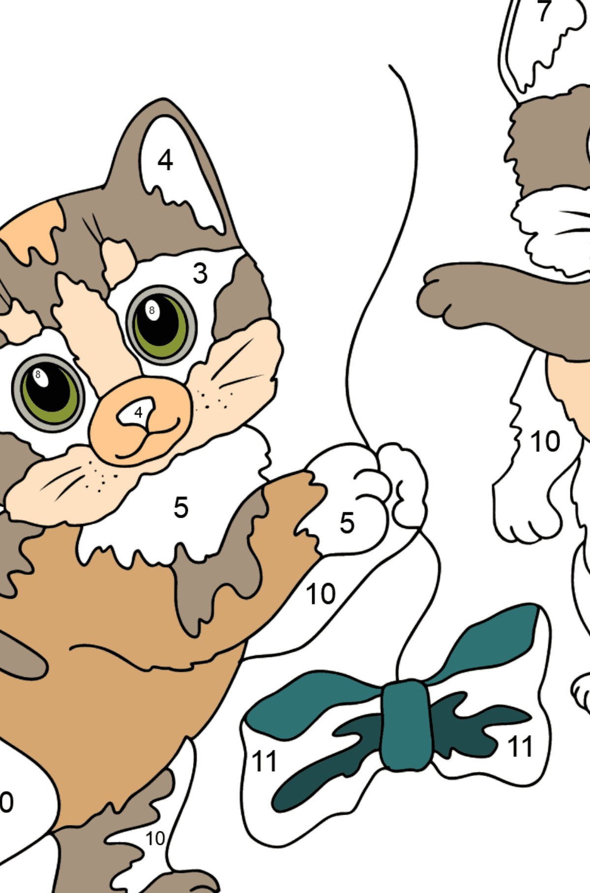 Coloring Page - Kittens are Jumping with Bows - Coloring by Numbers for Kids
