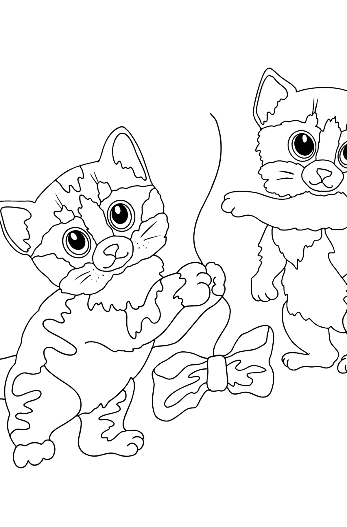 Coloring Page - Kittens are Jumping with Bows - Coloring Pages for Kids