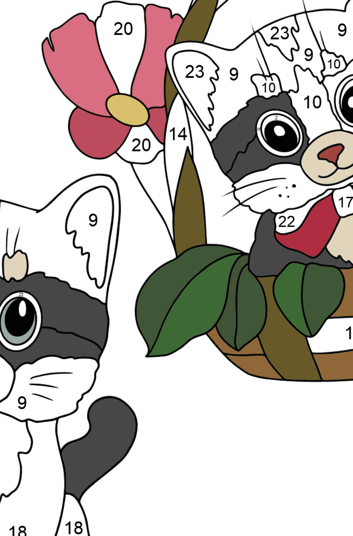 Coloring Page - Kittens are Looking Around Cautiously - Coloring by Numbers for Kids