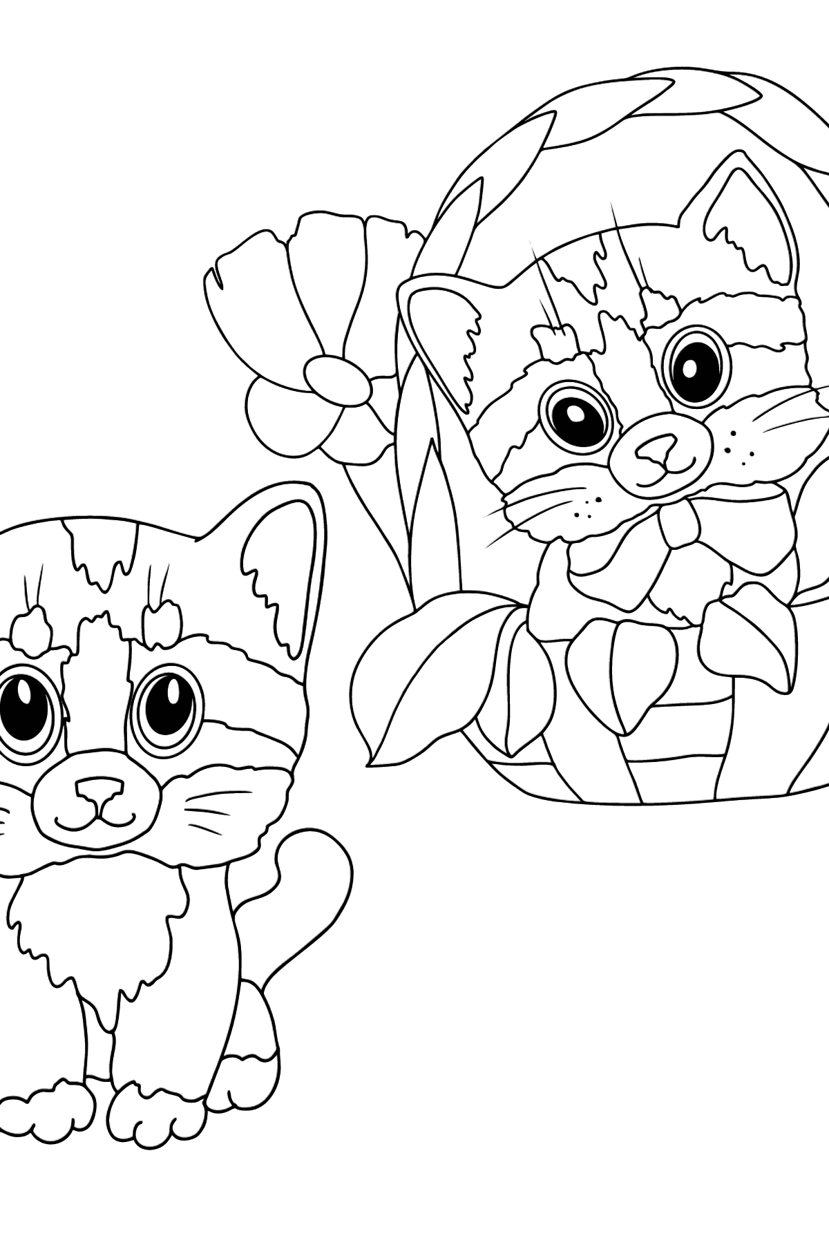 Coloring Page - Kittens are Looking Around Cautiously - Coloring Pages for Kids