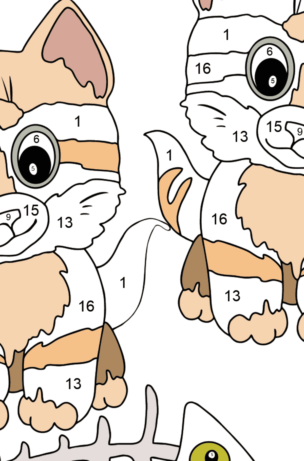 Coloring Page - Kittens are Looking at a Fish Bone - Coloring by Numbers for Kids