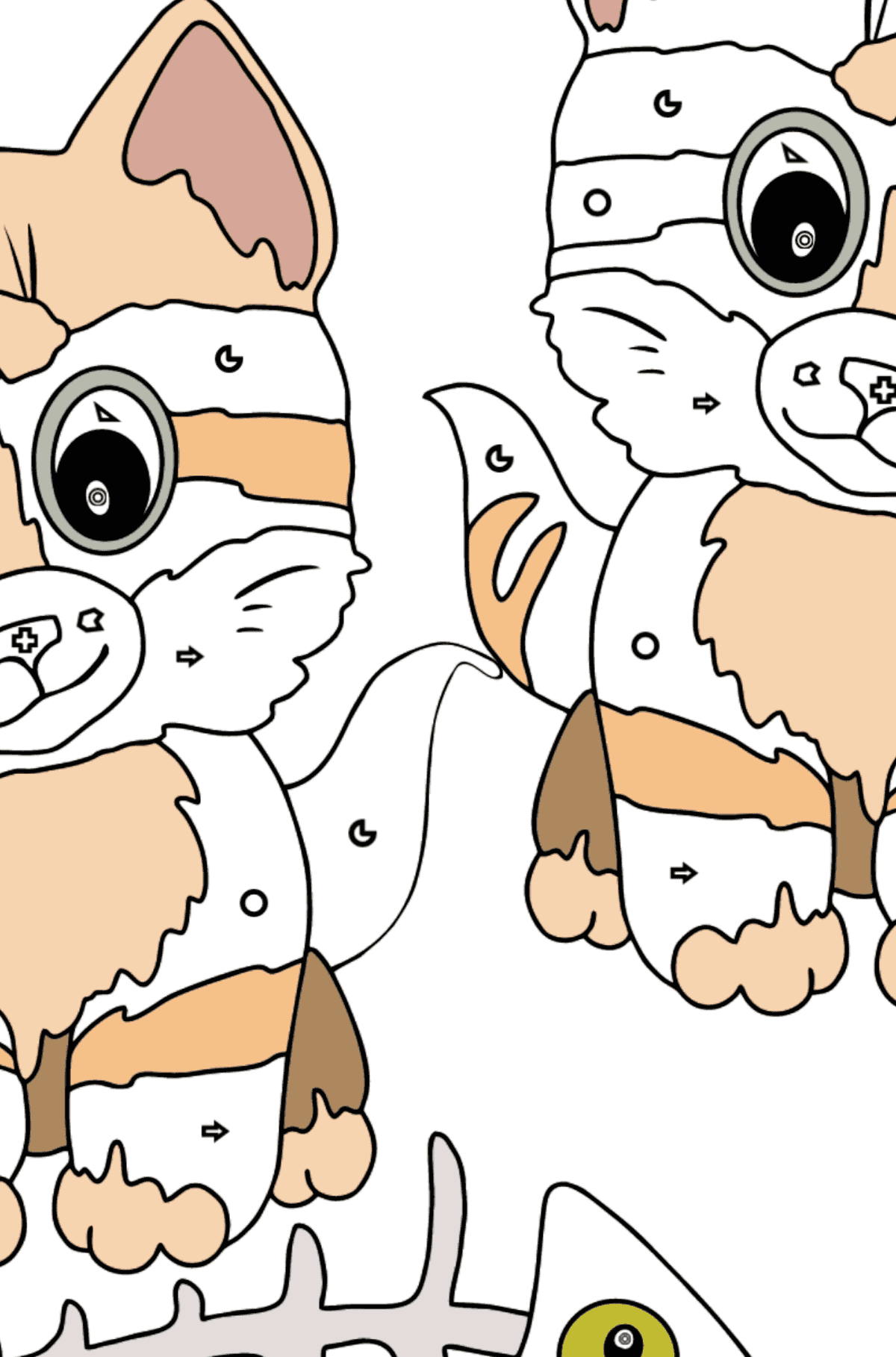 Coloring Page - Kittens are Looking at a Fish Bone - Coloring by Geometric Shapes for Kids