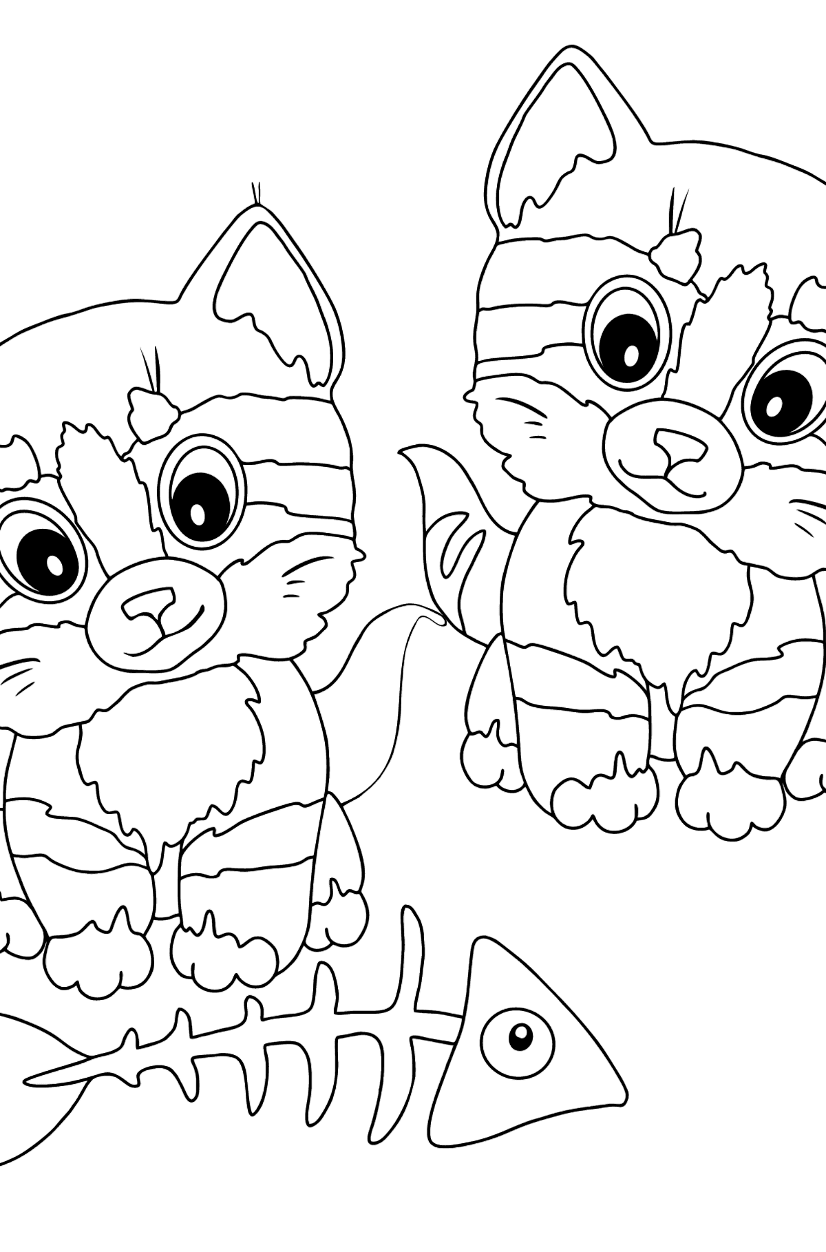 Coloring Page - Kittens are Looking at a Fish Bone - Coloring Pages for Kids