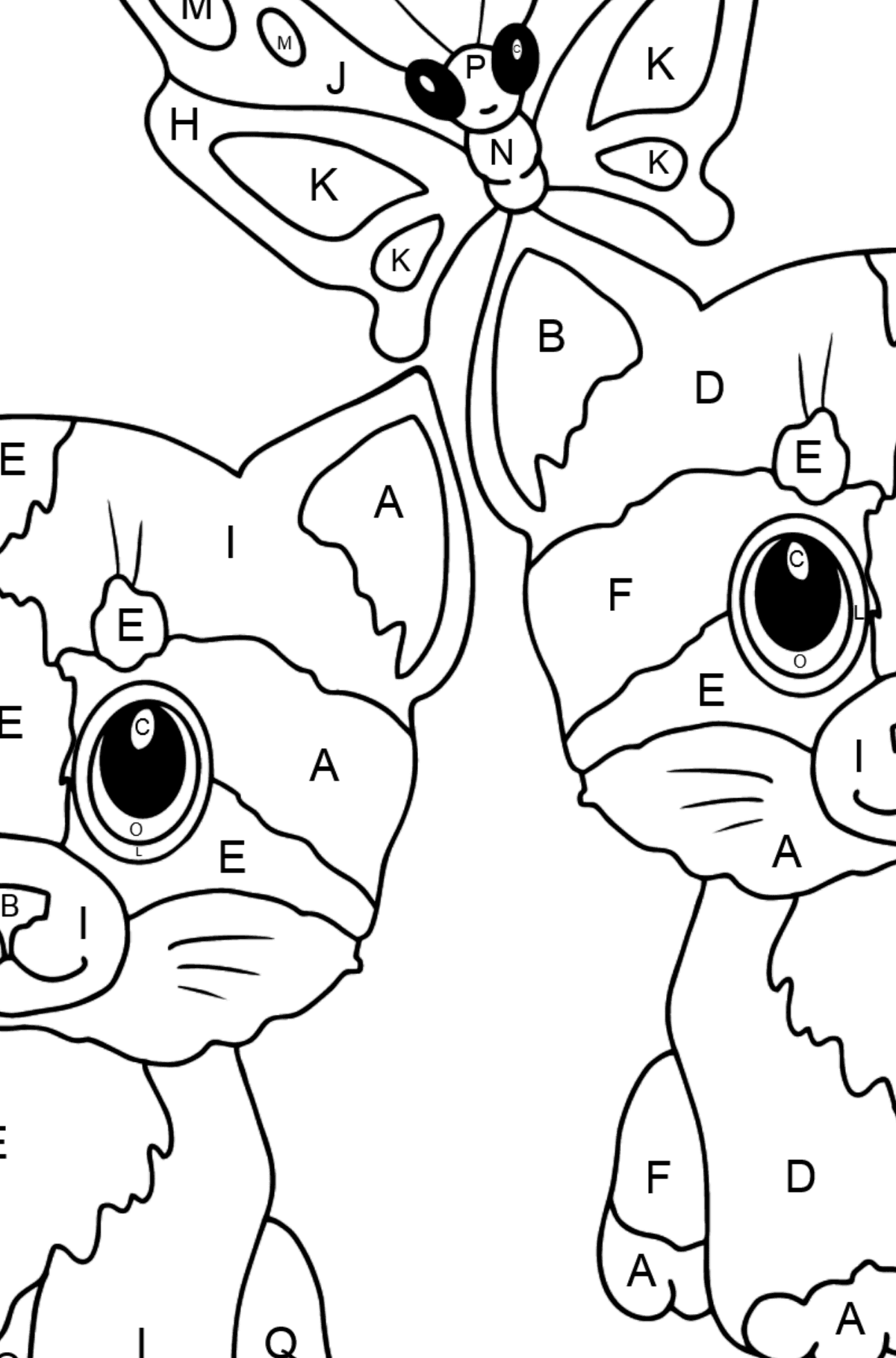 Coloring Page - Kittens are Playing Happily with a Butterfly  - Coloring by Letters for Kids