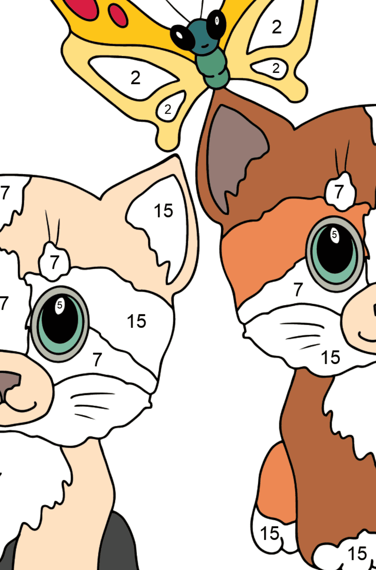 Coloring Page - Kittens are Playing Happily with a Butterfly  - Coloring by Numbers for Kids