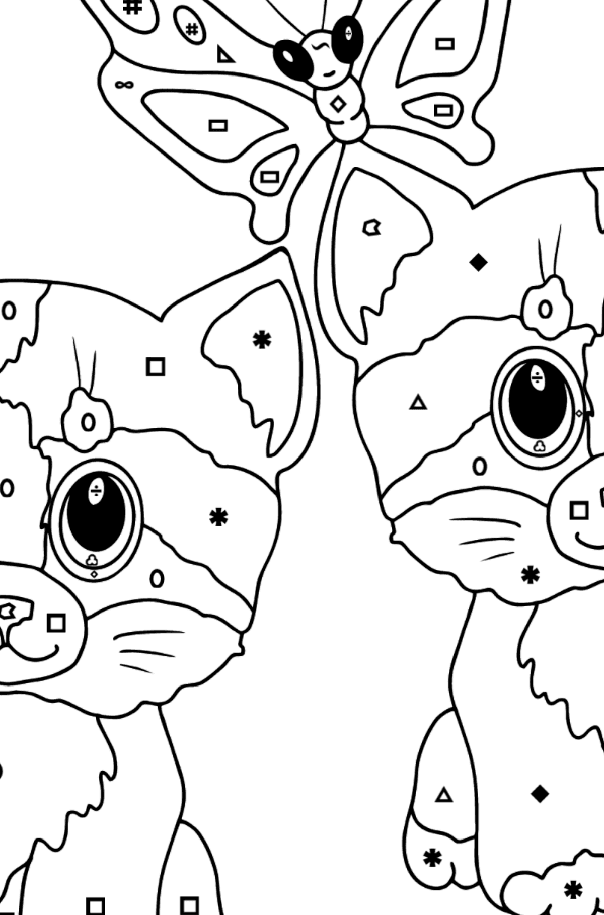 Coloring Page - Kittens are Playing Happily with a Butterfly  - Coloring by Symbols and Geometric Shapes for Kids