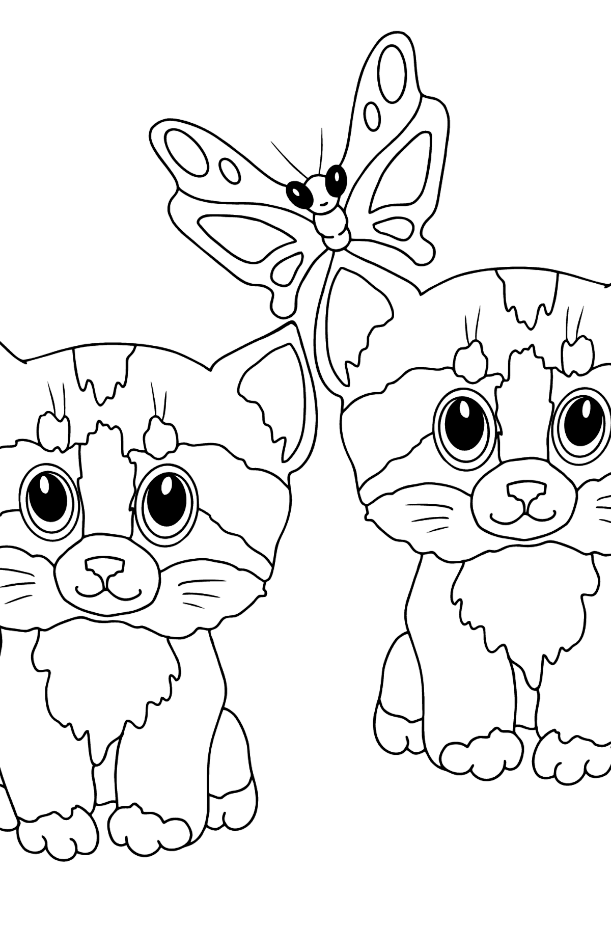 Coloring Page - Kittens are Playing Happily with a Butterfly  - Coloring Pages for Kids