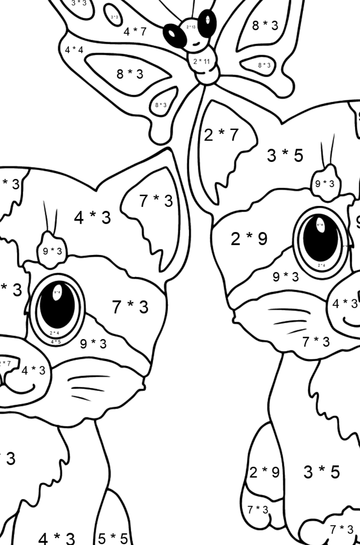 Coloring Page - Kittens are Playing Happily with a Butterfly  - Math Coloring - Multiplication for Kids
