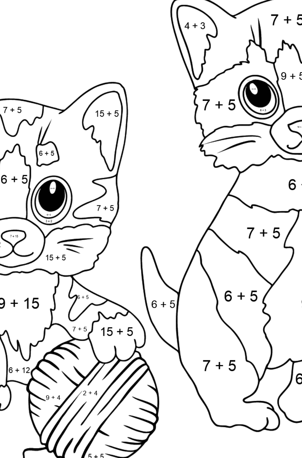 Coloring Page - Kitty Cat - Math Coloring - Addition for Kids