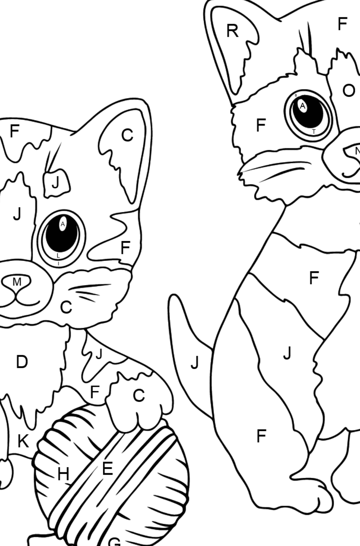 Coloring Page - Kitty Cat - Coloring by Letters for Kids
