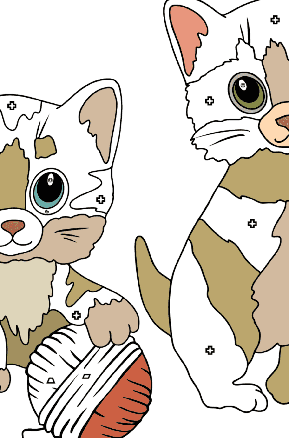 Coloring Page - Kitty Cat - Coloring by Geometric Shapes for Kids