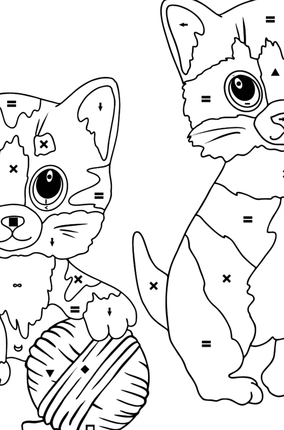 Coloring Page - Kitty Cat - Coloring by Symbols for Kids