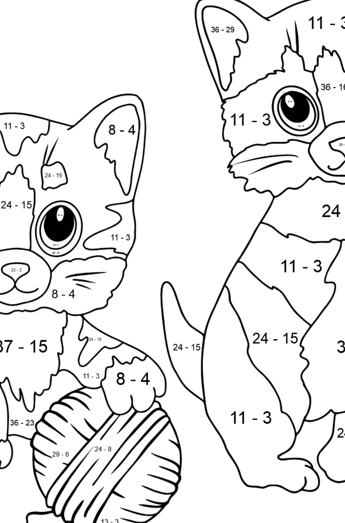 Coloring Page - Kitty Cat - Math Coloring - Subtraction for Kids