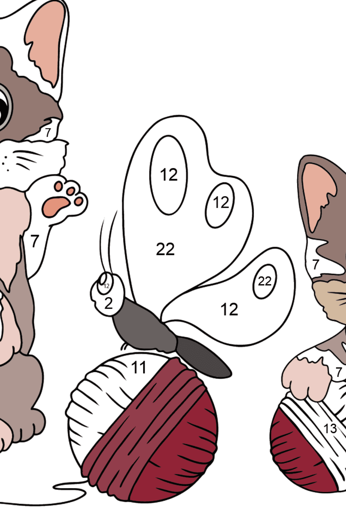 Coloring Page - Kittens are Playing with Threads - Coloring by Numbers for Kids