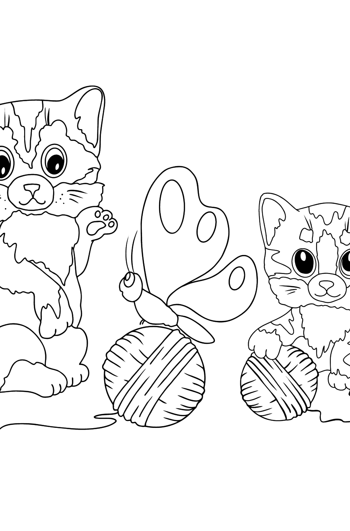 Coloring Page - Kittens are Playing with Threads - Coloring Pages for Kids