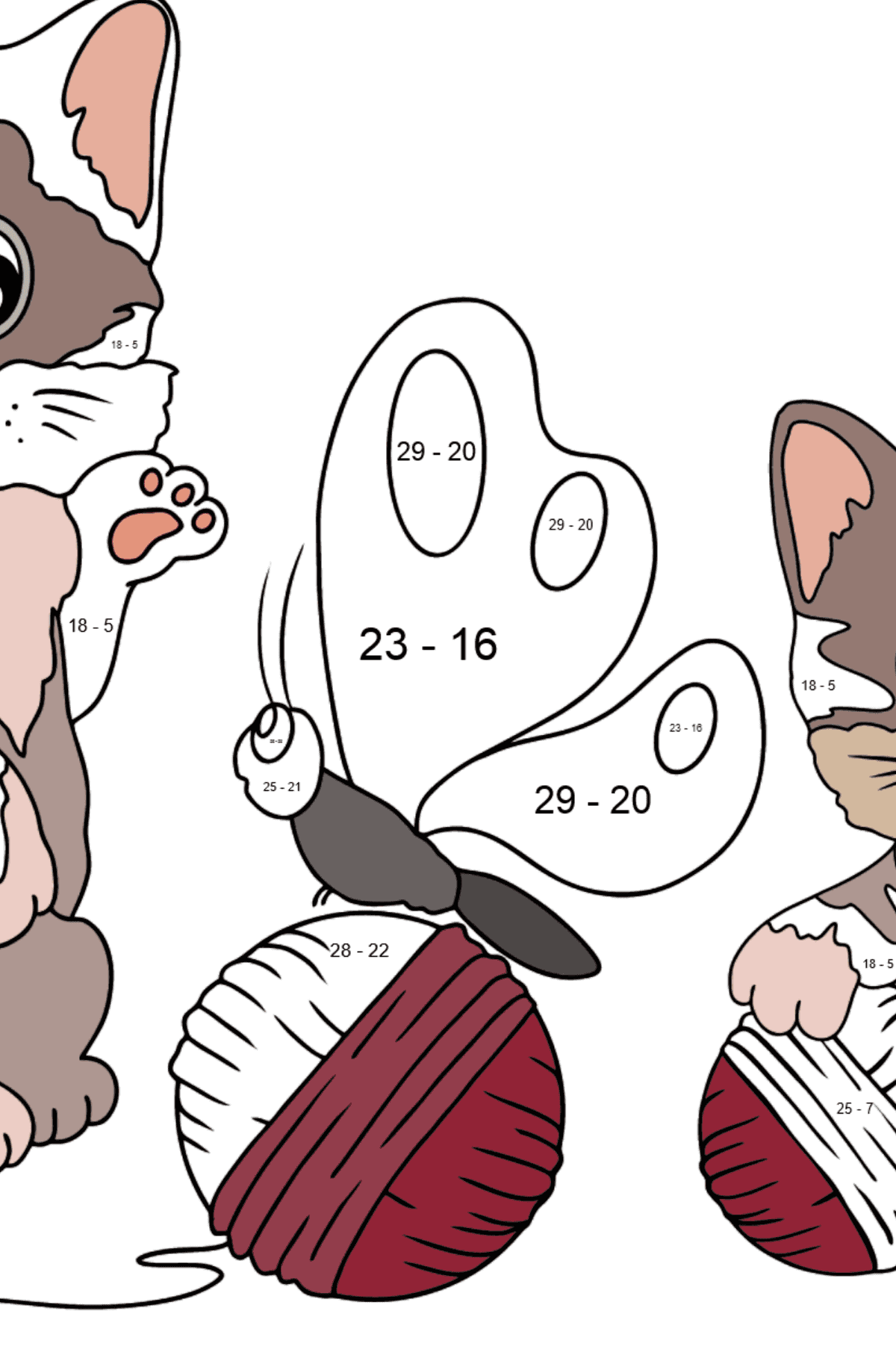 Coloring Page - Kittens are Playing with Threads - Math Coloring - Subtraction for Kids